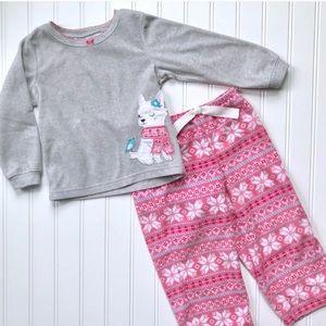 •Carters• girl's snowflake fleece pj set